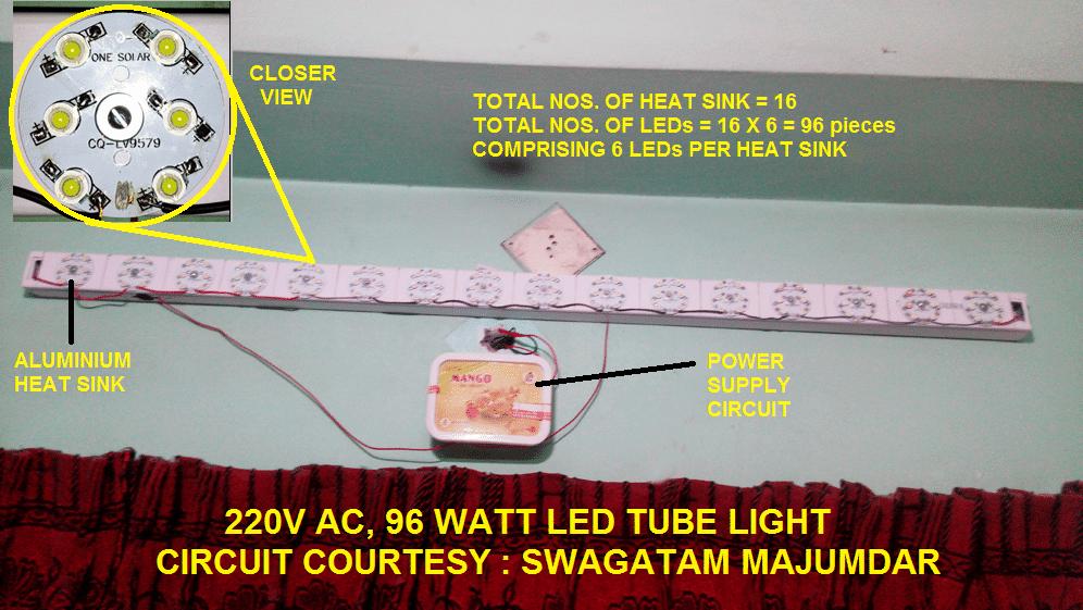 Capacitor Based Led Tubelight Circuit Using 1 Watt Leds Electronic