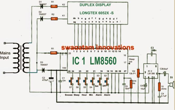 Digital Clock Using Lm8650 Ic Circuit