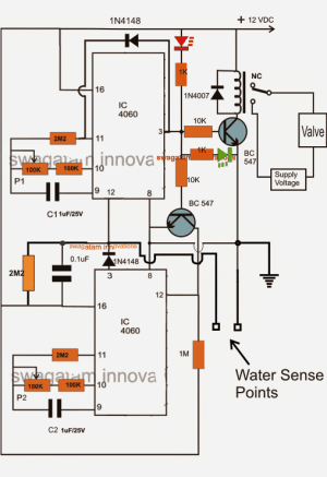 Water Flow Valve Timer Controller Circuit | Homemade Circuit Projects