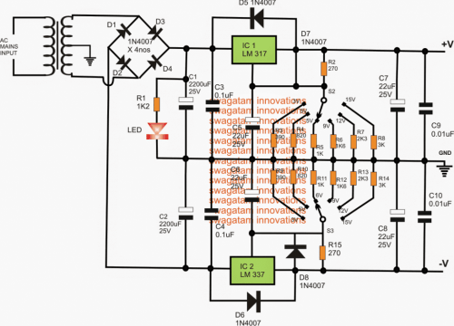 small resolution of adjustable 3v 5v 6v 9v 12v 15v dual power supply homemade 6v power supply with 12v relay power supply diagram and circuit
