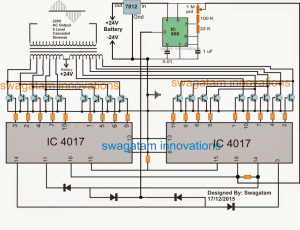 Multilevel 5 Step Cascaded Sine Wave Inverter Circuit