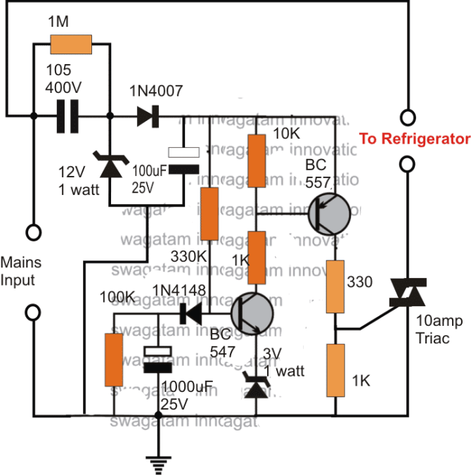simple refrigerator protector circuit  homemade circuit