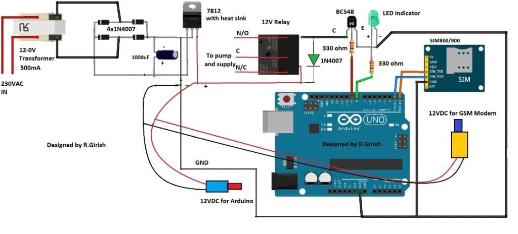 water level indicator project with circuit diagram gst conventional fire alarm system wiring gsm pump motor controller using arduino | homemade projects