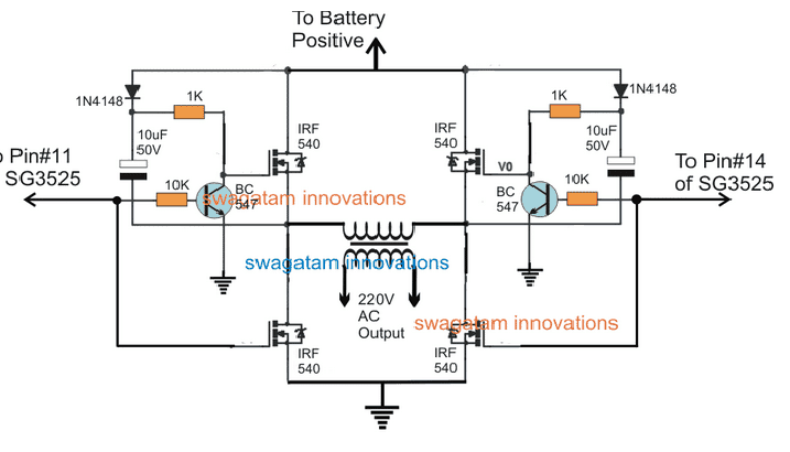 SG3525 Full Bridge Inverter Circuit using Bootstrapped BJT