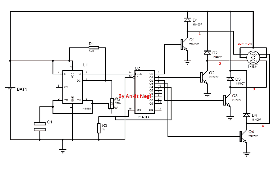 Driving Unipolar Stepper Motor using IC 555 Timer