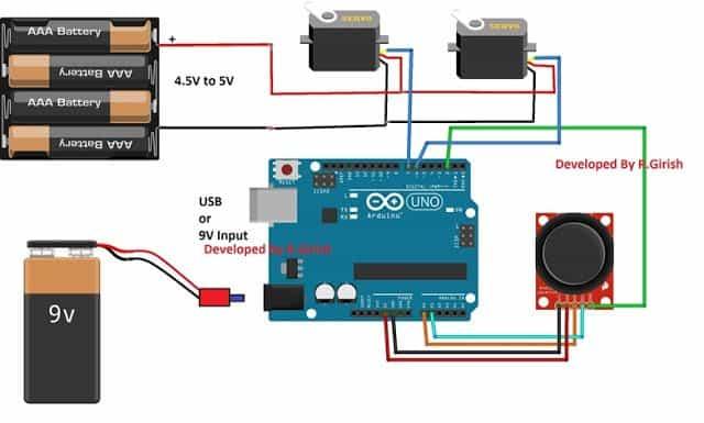 circuit diagram maker 2000 ford expedition car stereo wiring arduino servo motor control using joystick