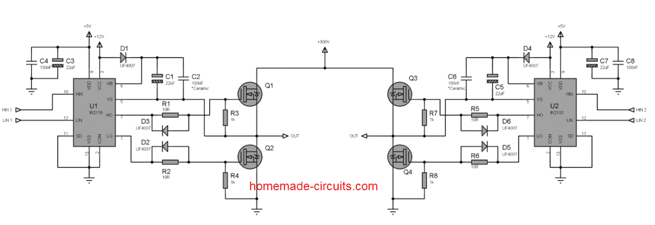 H-Bridge Inverter Circuit Using 4 N-channel Mosfets