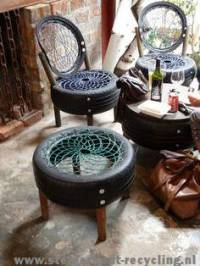 Repurposed tires for homemade chairs, recycled and ...