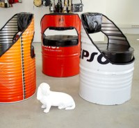 Oil barrels as furniture, chairs benches and tables from ...