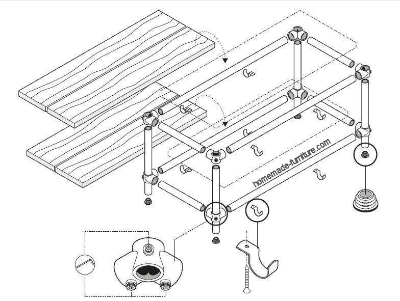 TV table construction example, drawings for scaffolding