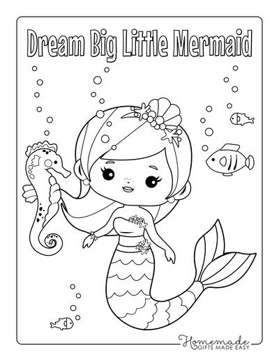 Easy Mermaid Coloring Pages : mermaid, coloring, pages, Mermaid, Coloring, Pages, Printable