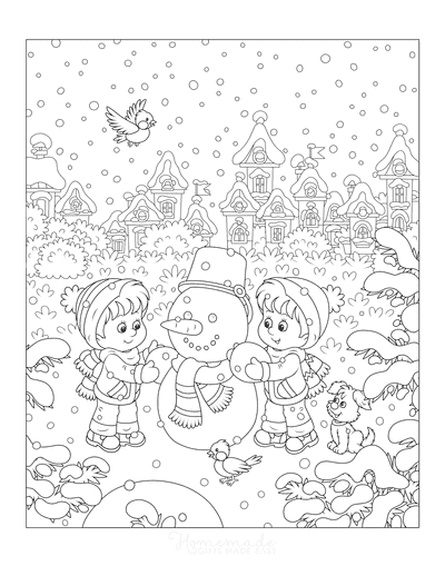 Winter Scene Coloring Page : winter, scene, coloring, Winter, Coloring, Pages, Printable, Downloads