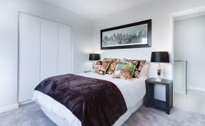 modern minimalist bedroom, contemporary, indoors