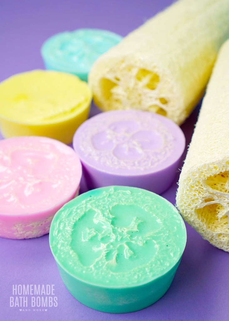 Coconut Loofah Soaps in Rainbow Pastel Colors