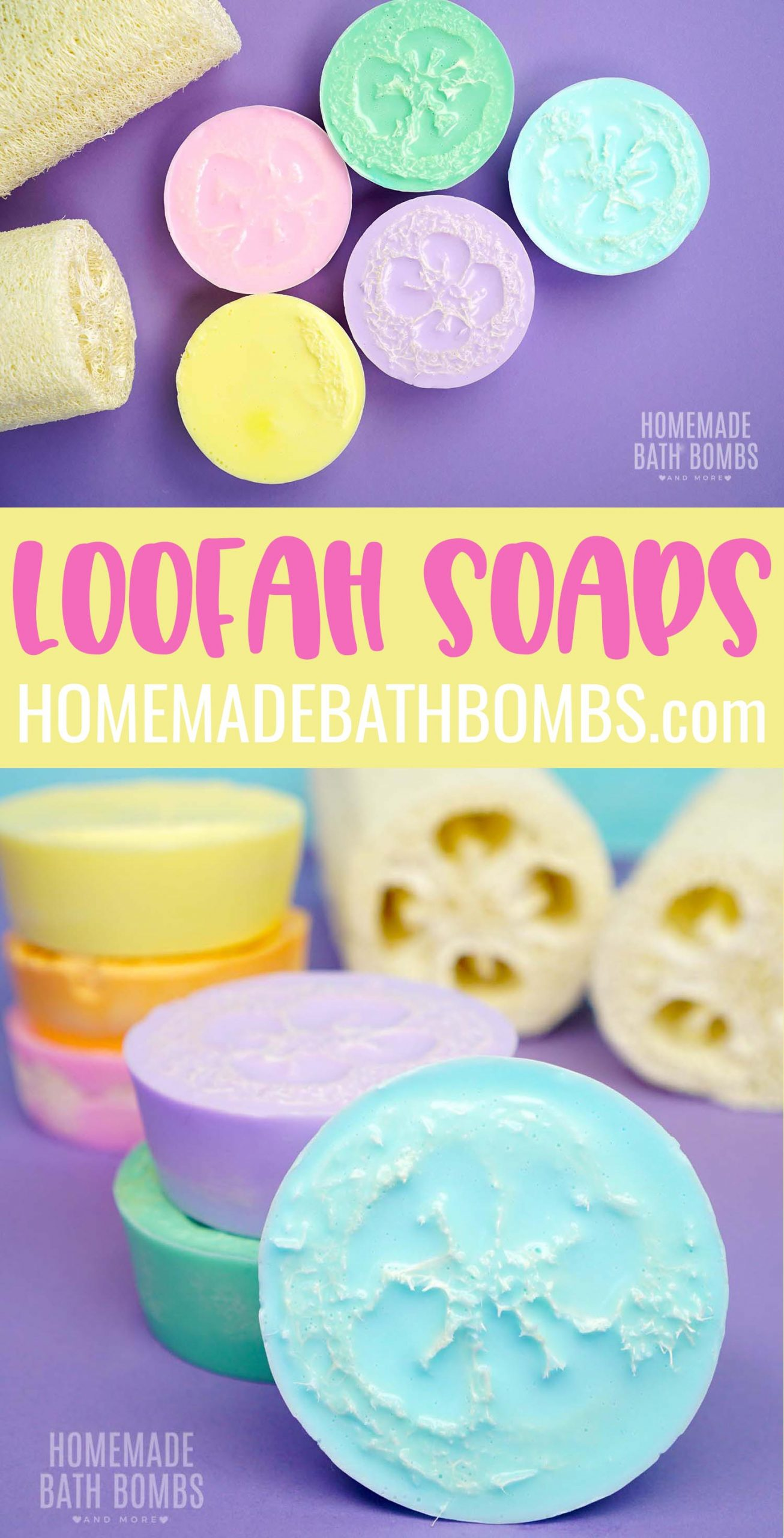 These refreshing coconut loofah soaps are a wonderful way to exfoliate and hydrate dry skin! Keep skin smooth and silky with these easy to make DIY loofah soaps! via @hihomemadeblog