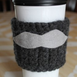 Crochet Moustache Coffee Cozy