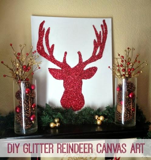 Glitter Reindeer Canvas