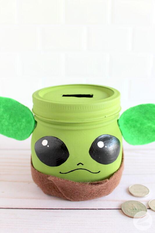 baby yoda mason jar craft