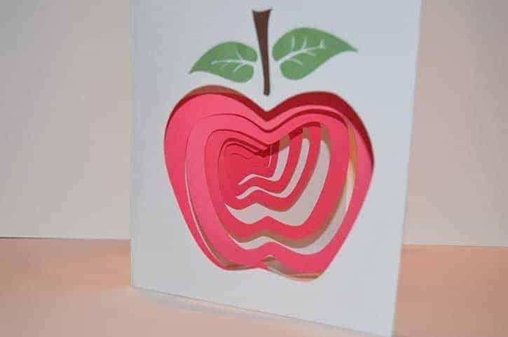 glue dots spiral apple card by janet trieschman