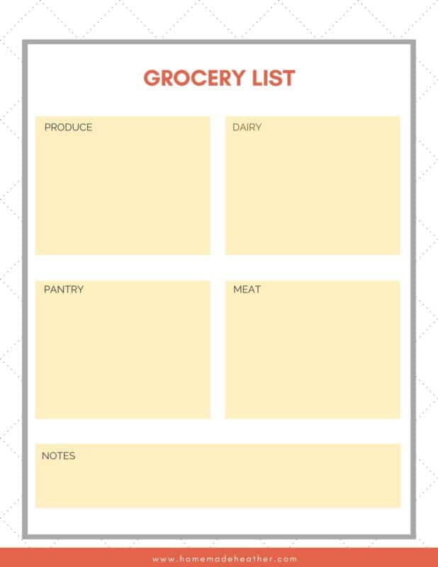 camping grocery list
