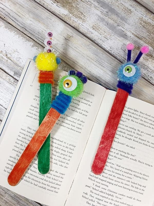 craft stick monster bookmarks