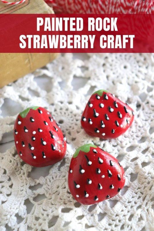 painted rock strawberries