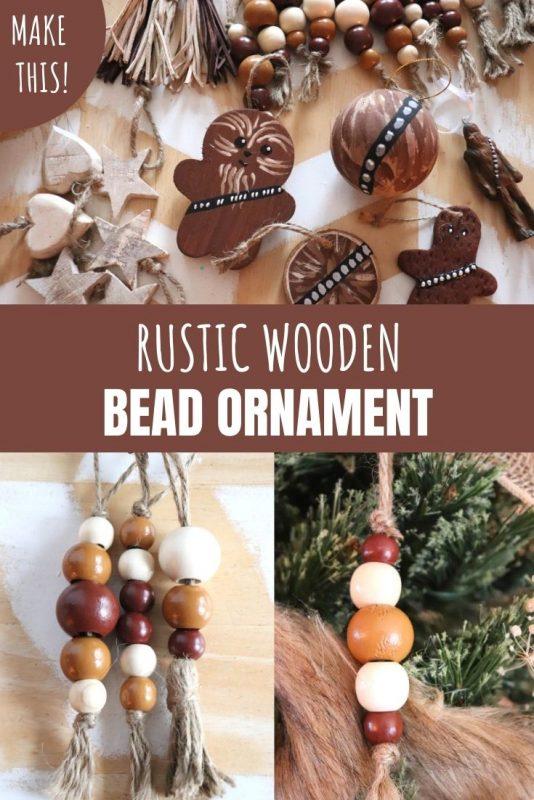 diy rustic wooden bead ornament