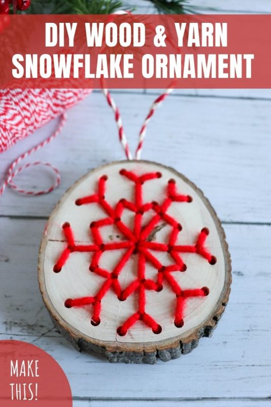 diy wood yarn snowflake ornament