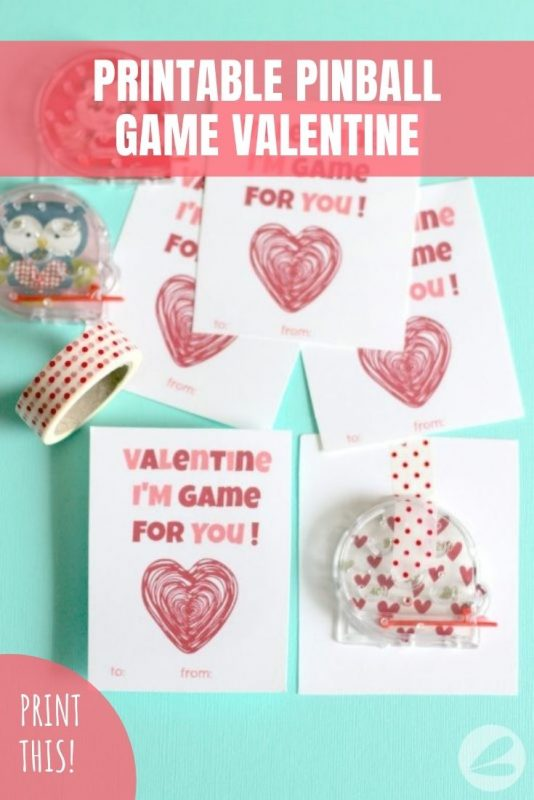 printable pinball game valentine
