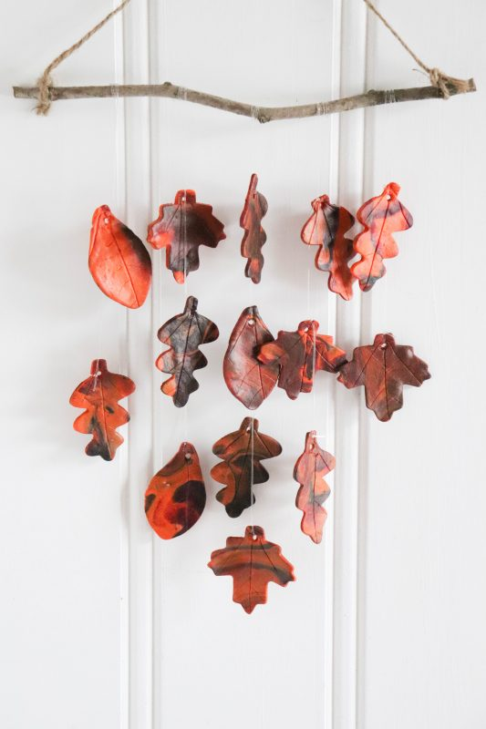 diy clay leaf wall hanging