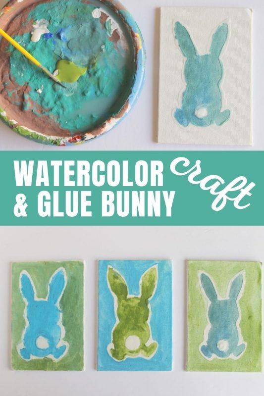 watercolor glue bunny