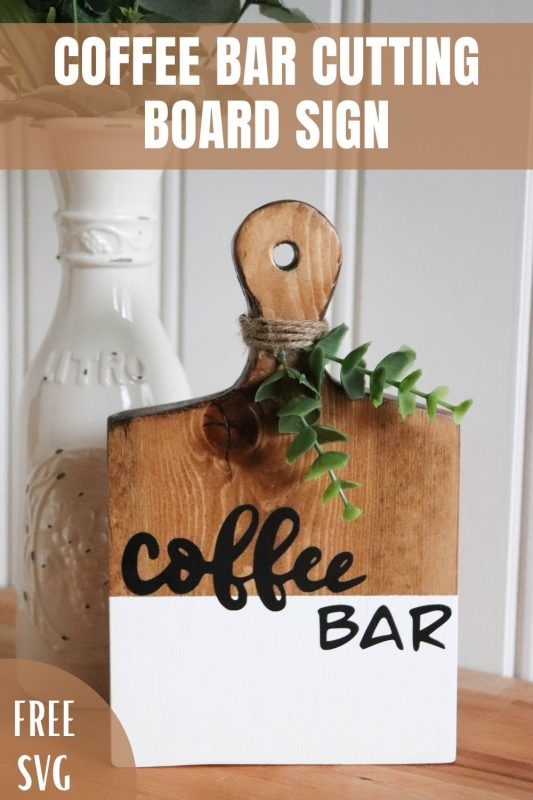 coffee bar cutting board sign