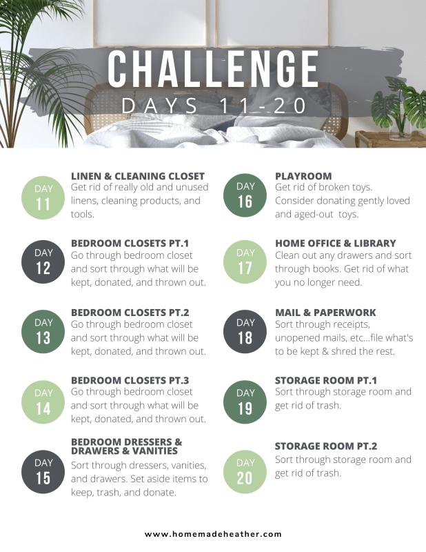spring clean organization challenge