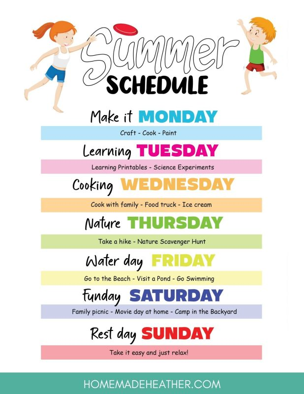 summer schedule printable