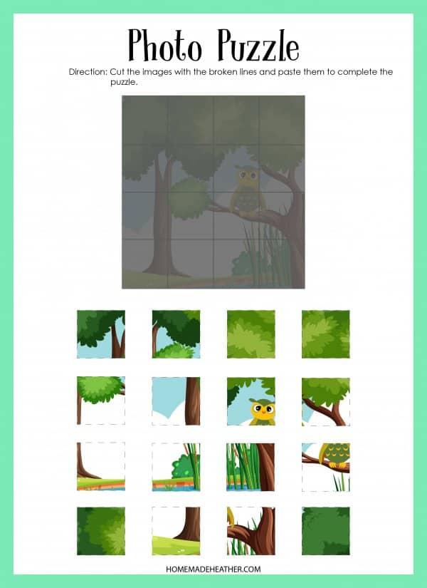 Owl Puzzle Printable