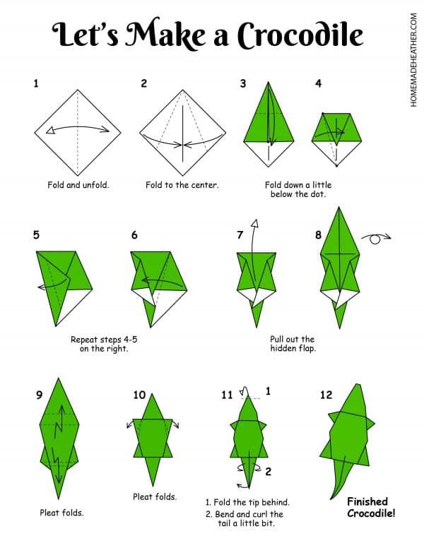 Free Origami Crocodile Printable Designs