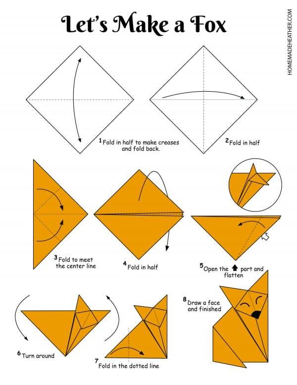 Free Origami Fox Printable Design