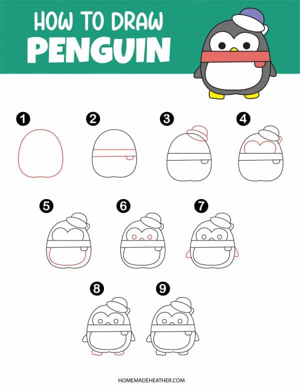 Free How To Draw Penguin Printable