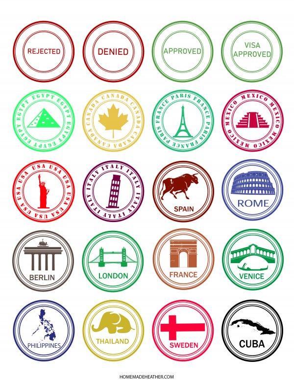 Free Pretend Travel Printable Stamps