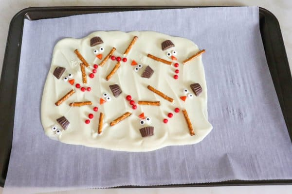 White Chocolate Snowman Bark Process