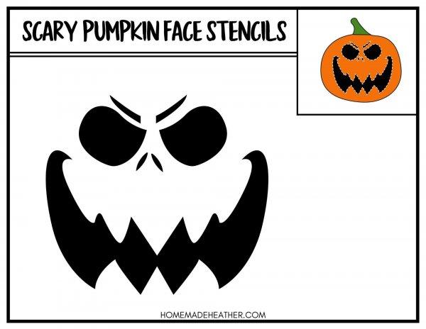 Free Scary Face Pumpkin Stencil