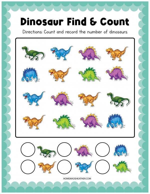 Dinosaur Activity Find & Count Printable