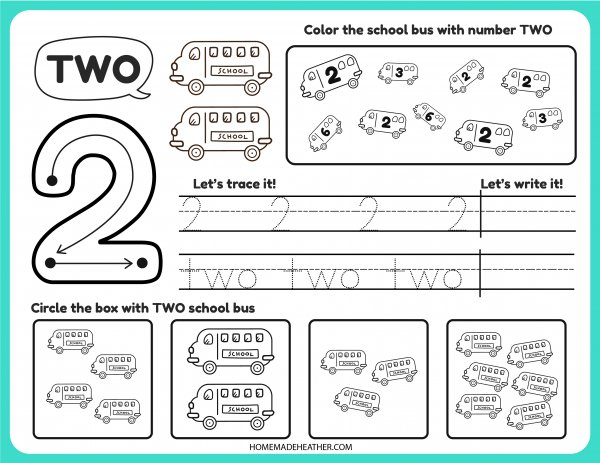 Free Number Tracing Printable Two