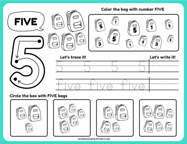 Free Number Tracing Printable Five