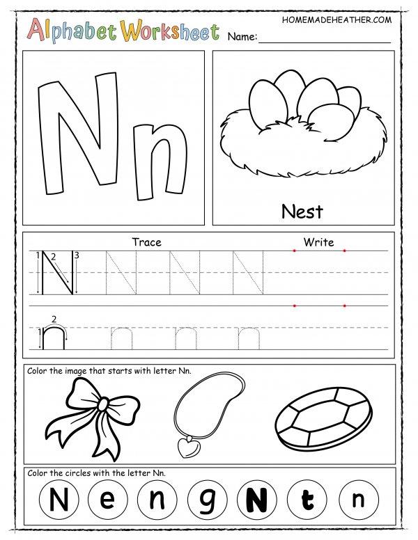 Letter N Printable Worksheet