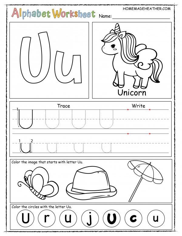 Letter U Printable Worksheet