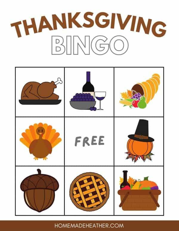 Free Thanksgiving Bingo Printable Card