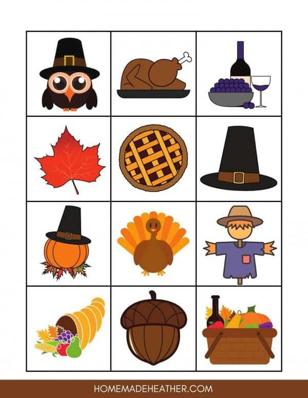 Free Thanksgiving Bingo Printable Calling Card