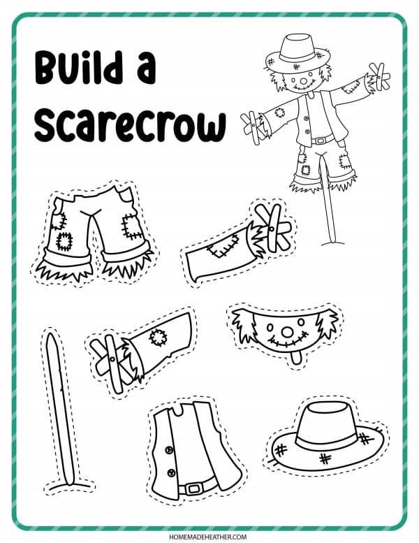 Build a Scarecrow Coloring Page