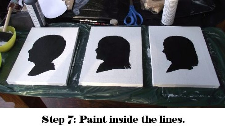 paint silhouette outlines